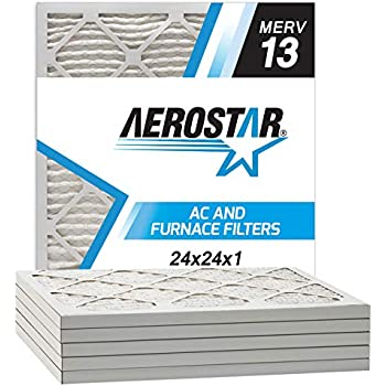 Aerostar Home Max 24x24x1 MERV 13 Pleated Air Filter, Made in the USA, 6-Pack