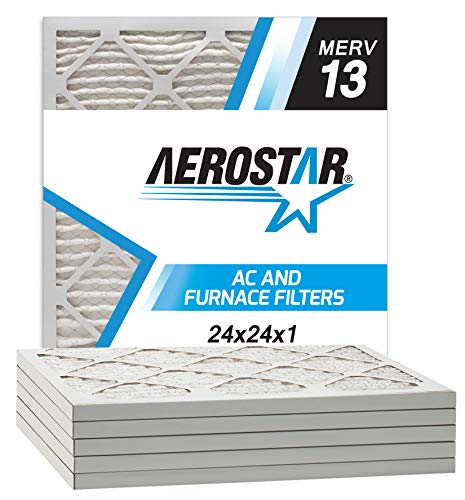 Aerostar 24x24x1 MERV 13 Pleated Air Filter, Made in the USA, 6-Pack