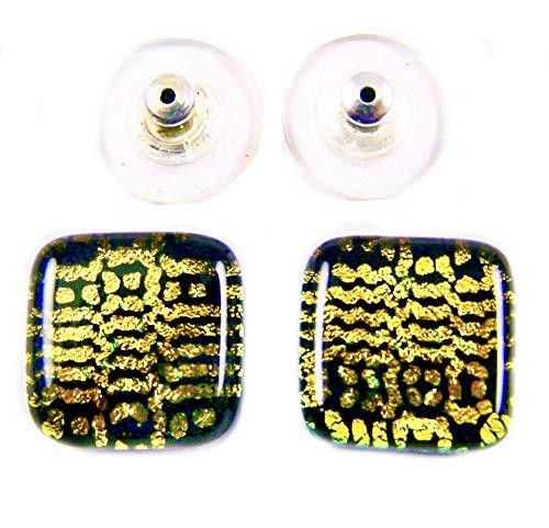 Dichroic Glass Earrings Stud Post - 1/2