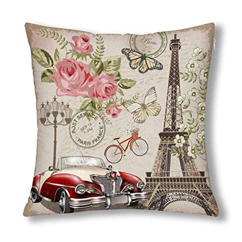 InterestPrint Vintage Paris Postcard Eiffel Tower Rose and Bicycle Decor Decorative Cushion Pillow Case Cover 18x18 Inch, Square Zippered Pillowcase -