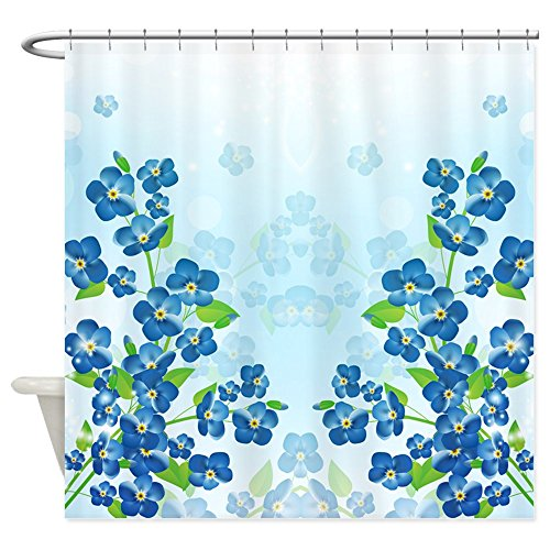 CafePress Forget Me Not Flowers Decorative Fabric Shower Curtain (69