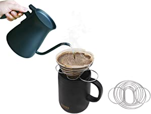 1 Cup Coffee Filter Holder, Pour-Over Coffee, Camping Stainless Steel Cone Hand Manual Single Cup Café,1-2 Cups, Portable Collapsible, Outdoor
