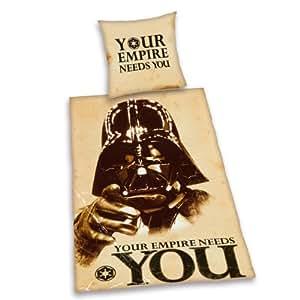 Herding 447255039 - Juego de cama (100% algodón, funda nórdica de 155 x 220 cm, funda de almohada de 80 x 80 cm), diseño de Star Wars con texto Your empire needs you