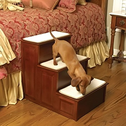 Solvit Three Step Wood Dog Steps - Cherry EP15301