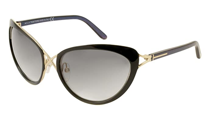 25f4cd689af Amazon.com  Tom Ford Sunglasses - Daria   Frame  Black with Purple-Blue  Pinstripe Temples Lens  Gray Gradient  Clothing