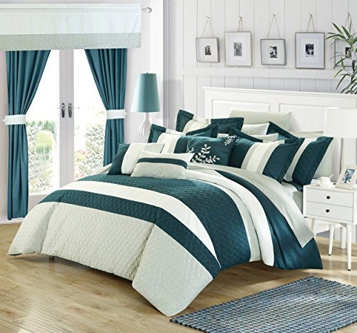 Perfect Home 24 Piece Emilio Complete Bedroom Set with Octagon Embroidery Color Block pattern. decor pillows, window treatments Queen Bed In a Bag Comforter Set Teal With sheet - Ensemble Bed 24 Queen Piece