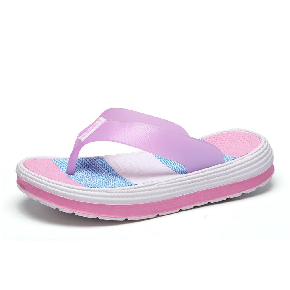 Damen Zehentrenner Sandalen Sommer Strand Flip Flops mit Plateau Sohle Gr36-41  38 EU|Pink