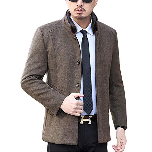 Large Brown Collar Stand Size Overcoat Men's Windbreaker Casual Jacket Outerwear Coat Fleece Male Business For Yra Fit Woolen Slim p8AnUa