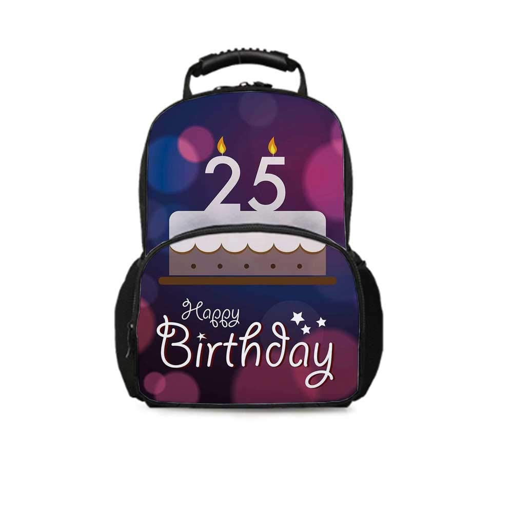 25th Birthday Decorations Leisure School Bag,Out of Focus Background with Cute Graphic Cake and Candles for School Travel,One_Size
