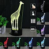 3D Illusion Animal Giraffe Remote Control LED Desk Table Night Light Lamp 7 Color Touch Lamp Kiddie Kids Children Family Holiday Gift Home Office Childrenroom Theme Decoration by HUI YUAN