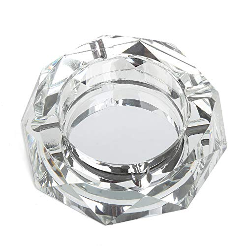 DRSPSB Marbling Crystal Cigarette Ashtray, Octangle Shape Glass Ash Holder Case with 4 Grooves, Decorative Tabletop Smoking Ash Tray for Indoor and Outdoor (Sliver)