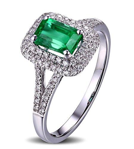 2 quilates esmeralda y anillo de compromiso de diamantes en oro blanco: Gemscove: Amazon.es: Joyería