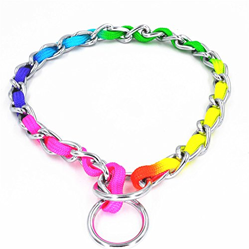 JWPC Rainbow Color Stainless Steel P Chock Metal Chain Training Dog Pet Collars Necklace Walking Training Pet Supplies for Small Medium Large Dogs,L
