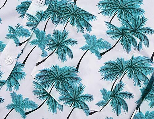 8e797bae NUTEXROL Hawaiian Shirts Mens Bamboo Print Beach Aloha Party Holiday print1  L