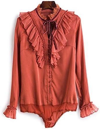 Mayihang Blusa Camisa Camisa de Vestir Blusa Camisa de Terciopelo en otoño y Primavera,Rojo Oxidado,M: Amazon.es: Deportes y aire libre