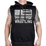 Men's Wrestling American Flag Sleeveless Vest Hoodie 4X-Large Black