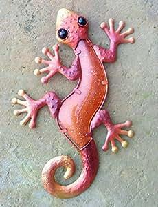 chsgjy Vintage 12inches metal Gecko colores cristal naranja rojo Escultura de patio al aire libre Living Decor