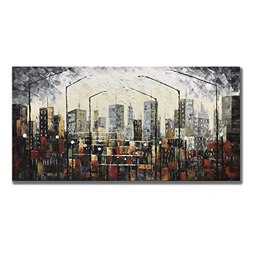 (Zoinart Canvas Abstract Painting 24x48inch 3D Oil Paintings Urban Landscape Streetlight Hand Painted on Canvas Large Framed Wall Art City View Artwork for Home Walls Decor Ready to Hang)