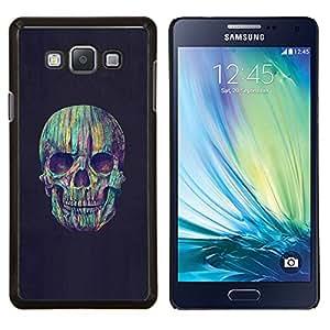 TECHCASE---Cubierta de la caja de protección para la piel dura ** Samsung Galaxy A7 ( A7000 ) ** --Cráneo Crayon colorido Noche Negro