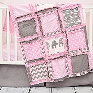 Image of Elephant Crib Set - Light Pink / Gray / - Safari Baby Bedding with Quilt, Skirt, Sheet Home and Kitchen