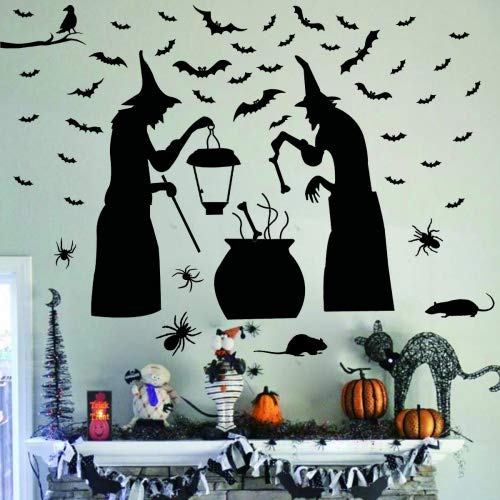 (Ivenf Halloween Party Supplies Decorations Wall Decal Window Decor 2 Witches with Bats Spider Mouse &)