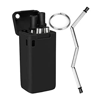 Collapsible Straws,Foldable Reusable Stainless Steel Folding Straw Keychain  Foldable Ultimate Premium