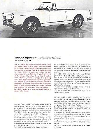 Amazon 1962 Alfa Romeo 2600 Spider 22 Touring Sales Brochure