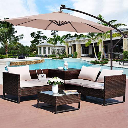 10′ Hanging Solar LED Umbrella Patio Sun Shade Offset Market W/Base Beige