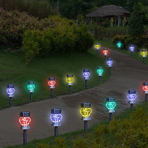 Solar outdoor lights 4 color changing led lamps for for Yard accent lights