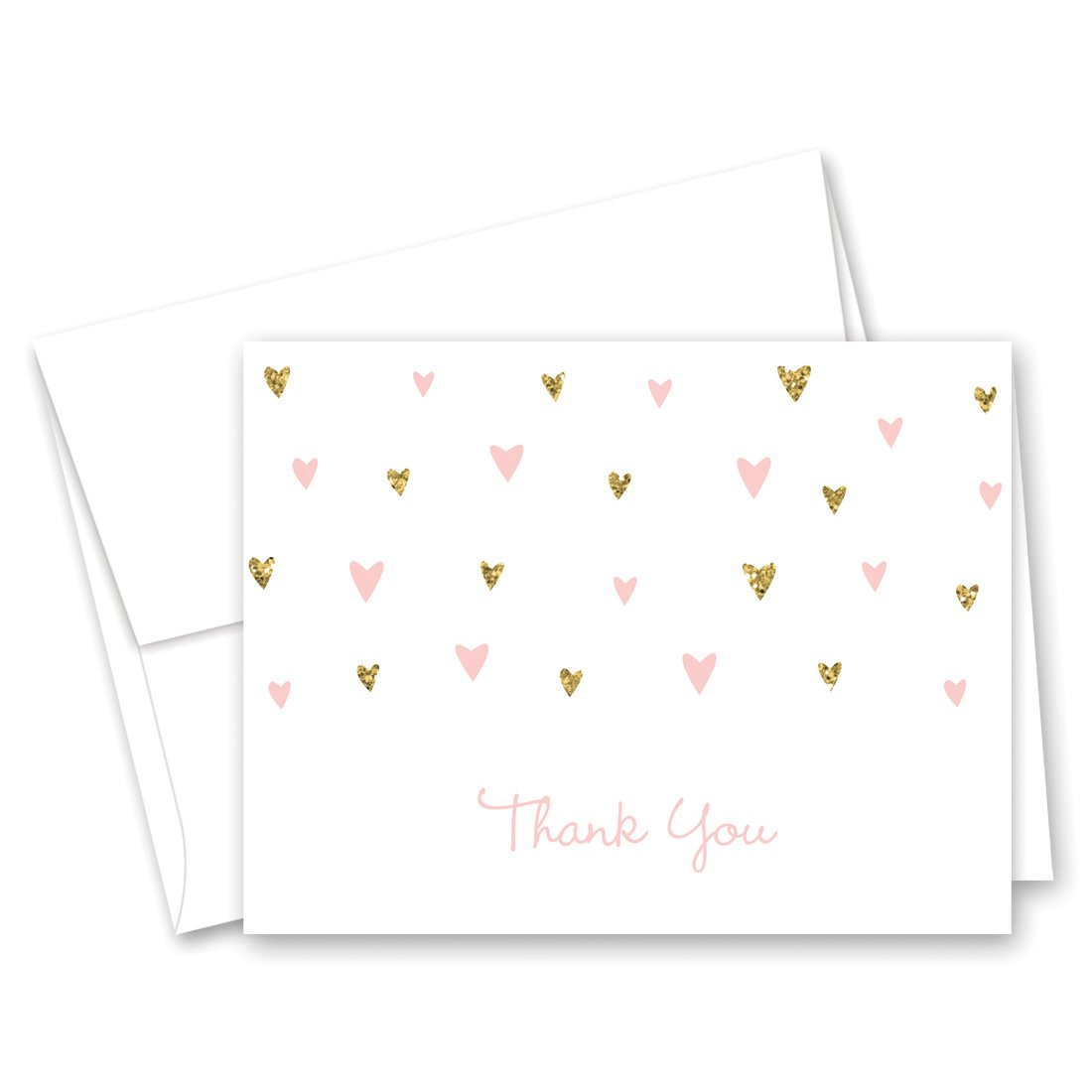 MyExpression.com 50 Cnt Pink Faux Glitter Hearts Baby Shower Thank You Cards by MyExpression.com (Image #3)