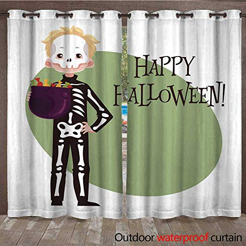 RenteriaDecor 0utdoor Curtains for Patio Waterproof Happy boy Dressed as Skeleton for Halloween W72 x L84 ()