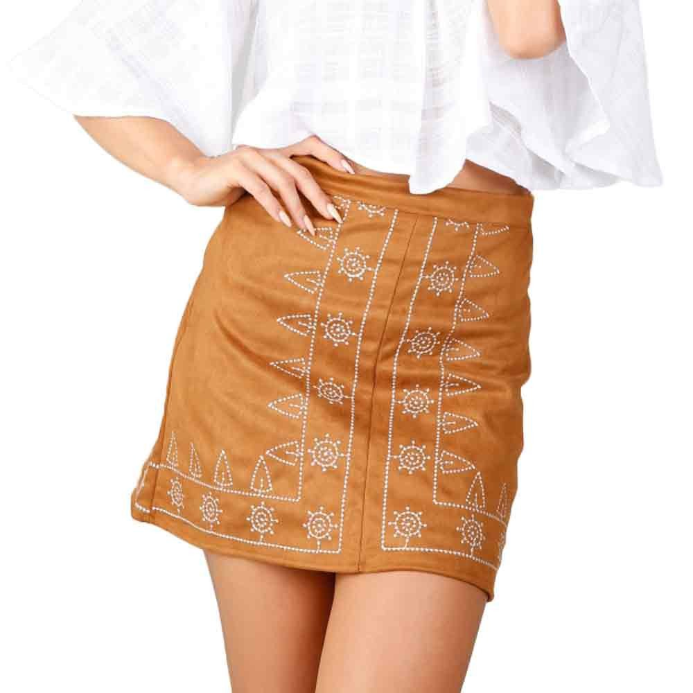 JSPOYOU Women Embroidered Leather Bag Hip Skirt Suede Fabric Slim Seamless Stretch Tight Short Skirt