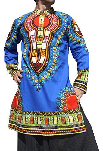 - RaanPahMuang Formal Kurta Long Sleeve Stand Up Collar Button Down Dashiki Shirt, Large, Bold Blue