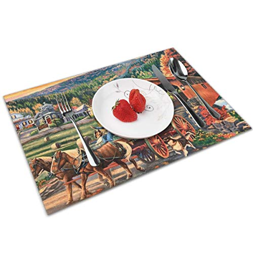 Vinyl Country Placemat - MNBVC Beautiful Country Carriage Dog Placemats Set of 4 for Dining Table Washable Woven Vinyl Placemat Non-Slip Heat Resistant Kitchen Table Mats Easy to Clean