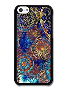 AMAF ? Accessories Floral case for iPhone 5C Abstract Flowers Blue Gold