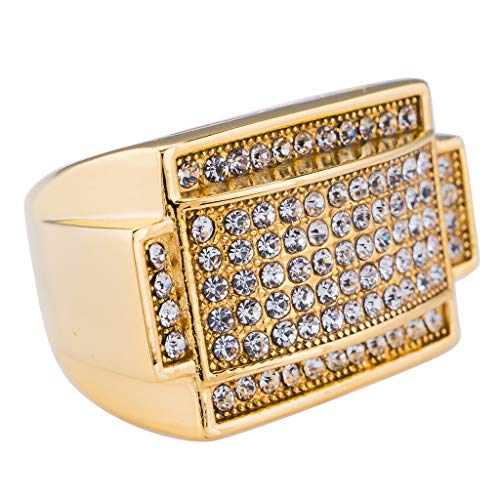 NIV'S BLING - 14K Gold-Plated Iced Out Rectangular Pinky Ring Size 6