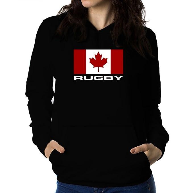 Teeburon FLAG CANADA Rugby Sudadera con capucha para mujer: Amazon.es: Ropa y accesorios