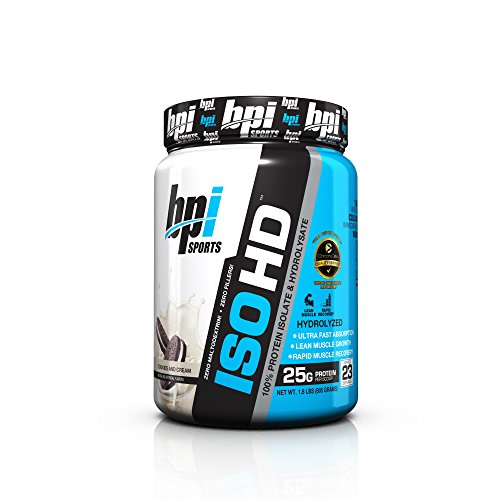 Advanced Protein Bar Peanut Butter - BPI Sports ISO HD 100% Protein Isolate & Hydrolysate, Cookies and Cream, 1.8 Pound