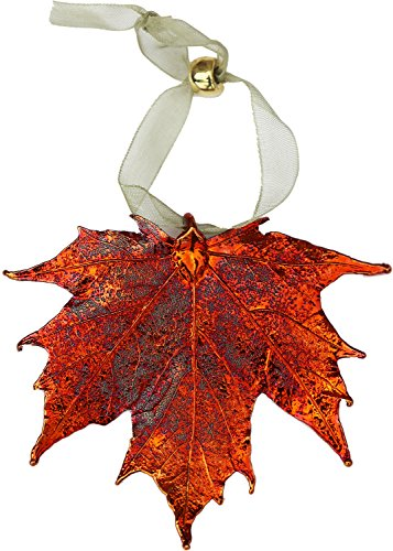 Curious Designs Leaf Ornament - Iridescent Sugar Maple, Copper Dipped, Real Leaves