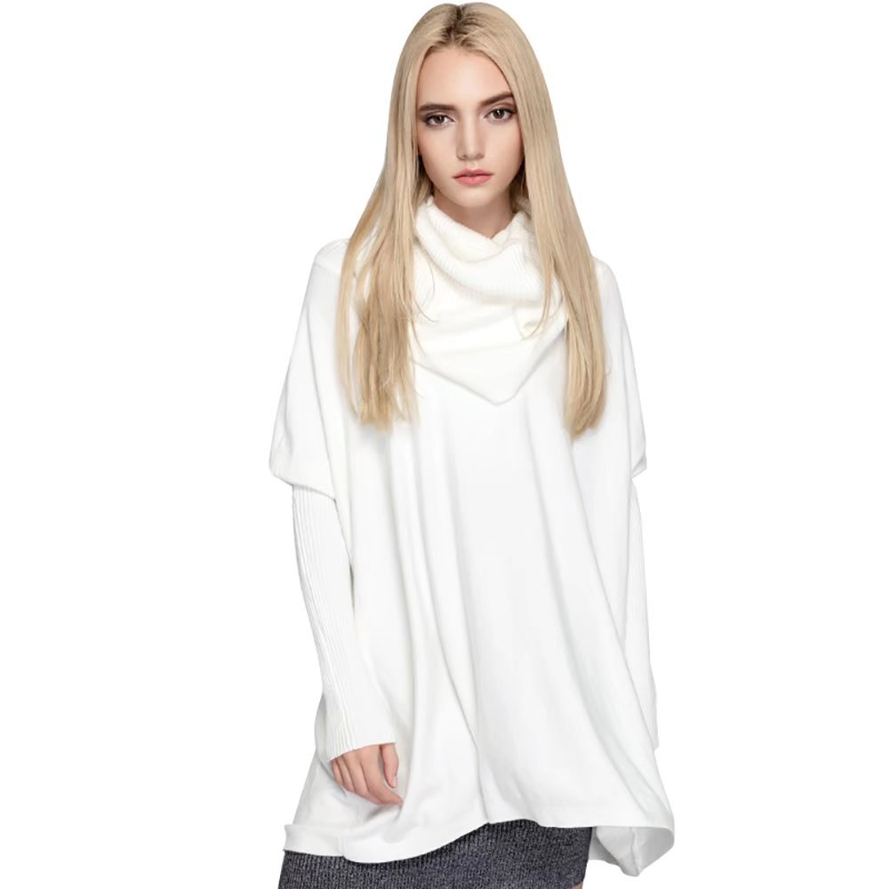 SITENG Womens Turtleneck Fitted Long Sleeve Cowl Neck Oversized Loose Pullover Knit Top Sweater,Small,White