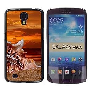 CASECO - Samsung Galaxy Mega 6.3 - Beach Sunset Sand - Delgado Negro Plástico caso cubierta Shell Armor Funda Case Cover - Beach Sunset Sand