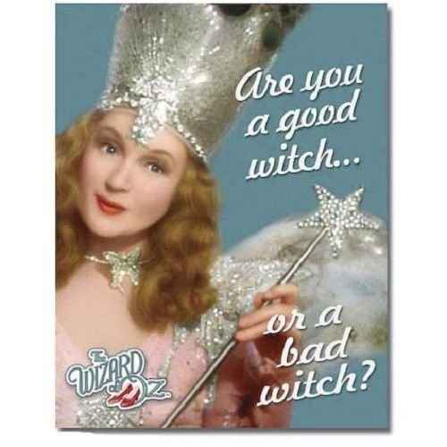Wizard of Oz Glinda Are You a Good Witch or a Bad Witch? Tin (Bad Witch Tin Sign)