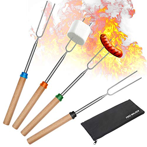 Marshmallow Roasting Smores Sticks,32-inch Extendable Sturdy Stainless Steel Roasting Forks for BBQ,Campfire,Hot Dog…