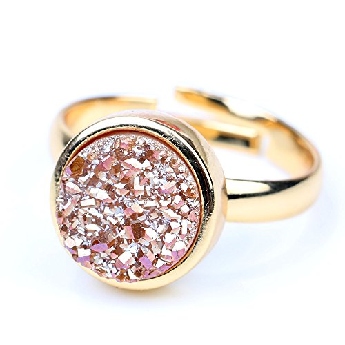 - 100% Natural Durzy Ring 24k Gold Plated Adjustable Rings Jewelry Size for Women(Round Shape Stone)