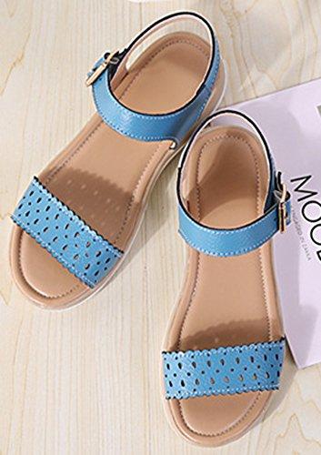 Voyage Perforée Confortable Sandales Aisun Bleu Femme à Boucle BXEgwU