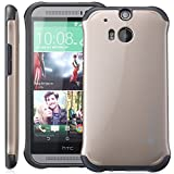 GreatShield® HTC One (M8) Case [FUSION] Dual Layer High Quality Poly-Thermoplastic Protective Slim-Fit Hybrid Case Cover for HTC One (M8) 2014 (Champagne Gold/Black)