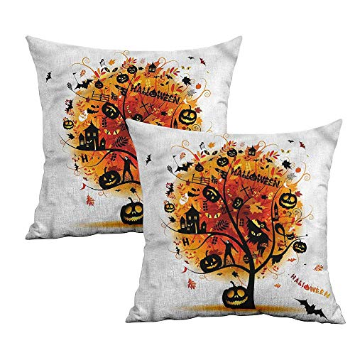 Khaki home Halloween Square Funny Pillowcase Mystic Skull Elements Square Pillowcase Protector Cushion Cases Pillowcases for Sofa Bedroom Car W 18