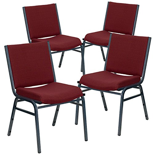 Flash Furniture 4 Pk. HERCULES Series Heavy Duty Burgundy Patterned Fabric Stack Chair
