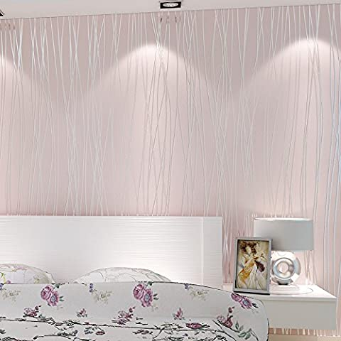 Bloss Embossed Nonwoven 32.8 Ft Wave Lines Wallpaper Striped Luxury Modern-Pink (Wallpaper Luxury)