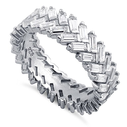 Baguette Ring Heart (Heartbeat Sterling Silver Simulated Diamond Baugetts Chevron Eternity Ring (12))